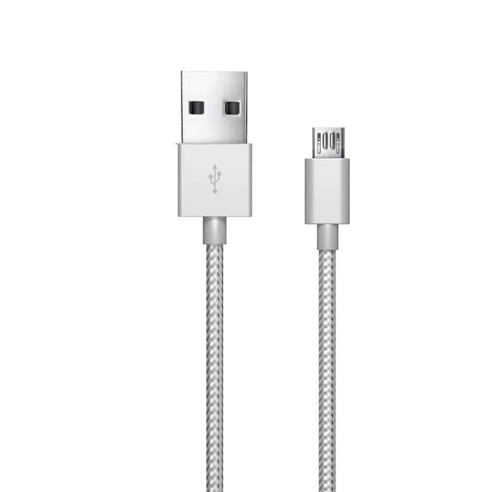 Just Wireless Chargers & Cables Just Wireless 1.8m Micro USB Charge and Sync Braided Cable in Silver