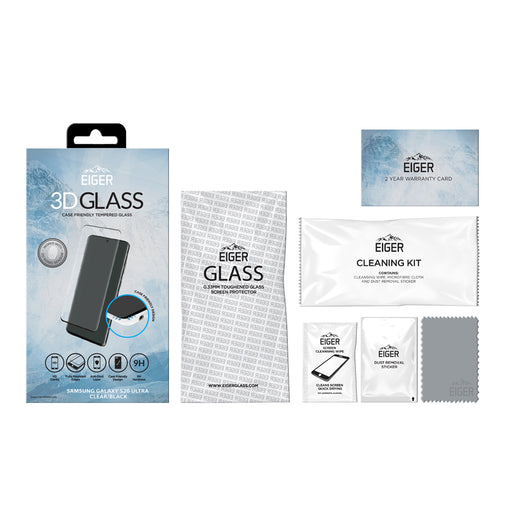 Eiger 3D GLASS Case Friendly Glass Screen Protector for Samsung Galaxy S20 Ultra in Clear/Black