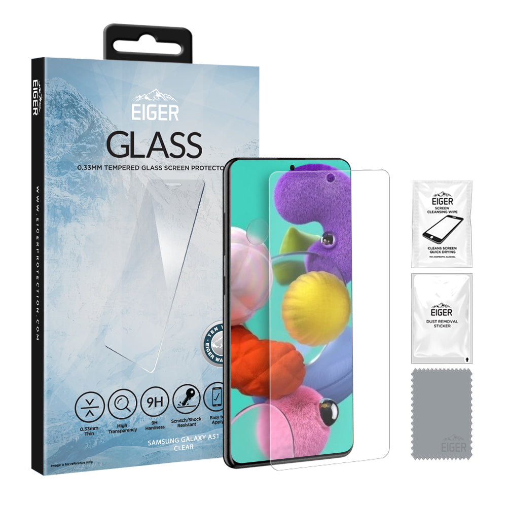 Communication & Mobile Phones Eiger GLASS Tempered Glass Screen Protector for Samsung Galaxy A51 in Clear