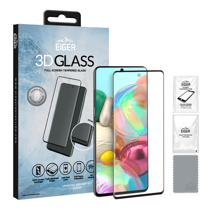 Eiger 3D GLASS Full Screen Glass Screen Protector for Samsung Galaxy A51 in Clear/Black