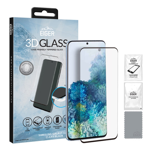Eiger 3D GLASS Case Friendly Tempered Glass Screen Protector for Samsung Galaxy S20+ in Clear/Black
