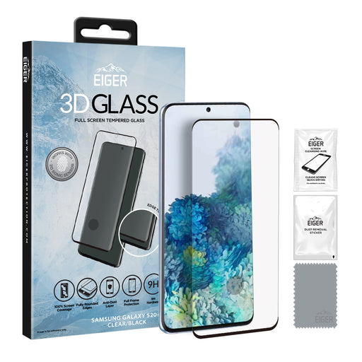 Eiger 3D GLASS Full Screen Tempered Glass Screen Protector for Samsung Galaxy S20+ in Clear/Black