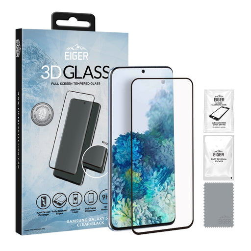 Eiger 3D GLASS Full Screen Tempered Glass Screen Protector for Samsung Galaxy S20 in Clear/Black
