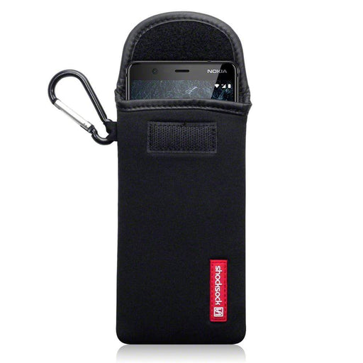 Shocksock Cases Shocksock Nokia 5.1 Neoprene Pouch Case with Carabiner - Black