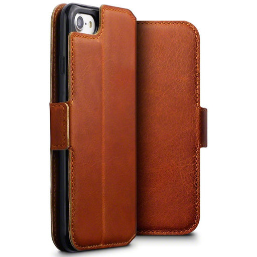 Terrapin Cases Terrapin Apple iPhone 8/7 Low Profile Genuine Leather Wallet Case - Cognac