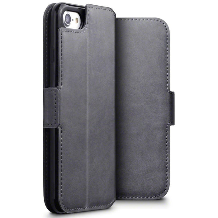buy online 7b2c8 32a9a Terrapin Apple iPhone 8/7 Low Profile Genuine Leather Wallet Case - Grey