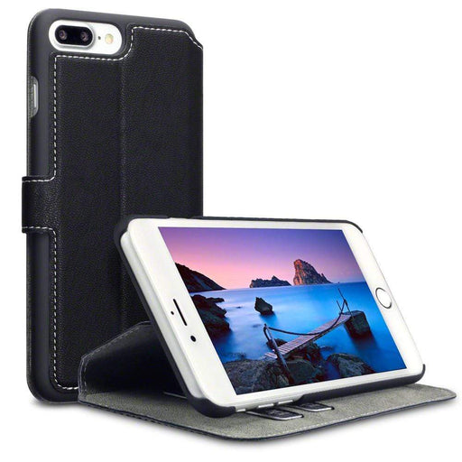 Terrapin Cases Terrapin Apple iPhone 8 Plus / 7 Plus Low Profile Faux Leather Wallet Case - Black