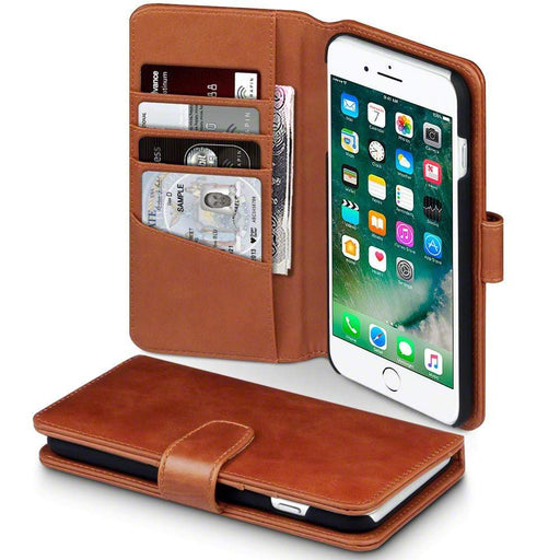 Terrapin Cases Terrapin Apple iPhone 8 Plus / 7 Plus Real Leather Wallet Case - Cognac