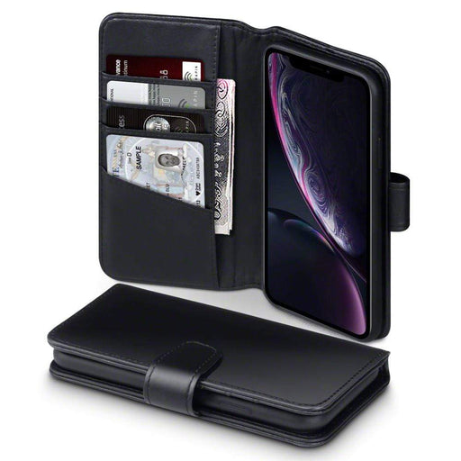 Terrapin Cases Terrapin Apple iPhone XR Real Leather Wallet Case - Black