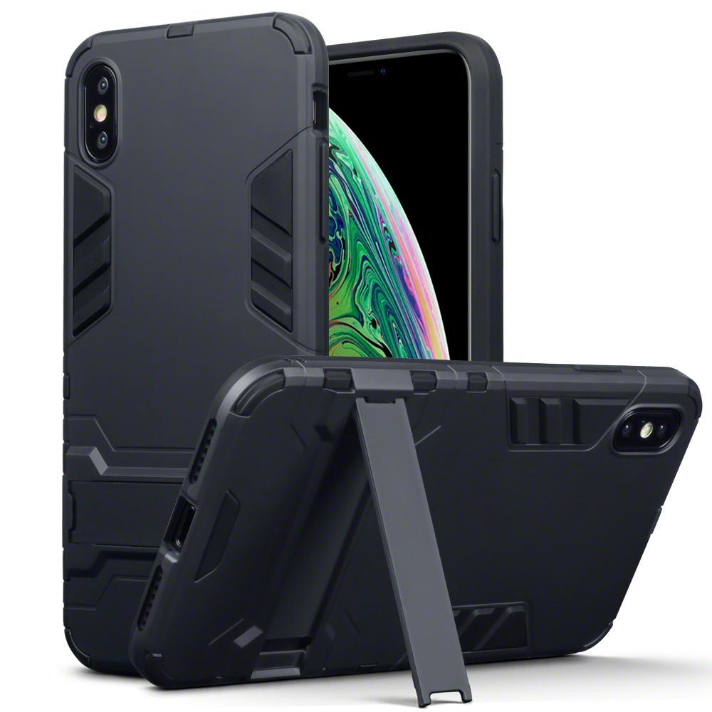 Terrapin Cases Terrapin Apple iPhone XS Max Dual Layer Impact Armour Stand Case - Black