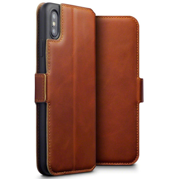 Terrapin Cases Terrapin Apple iPhone XS Max Low Profile Genuine Leather Wallet Case - Cognac