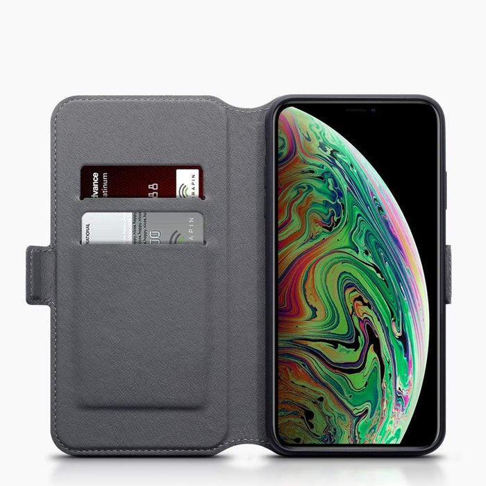 Terrapin Cases Terrapin Apple iPhone XS Max Low Profile Genuine Leather Wallet Case - Grey