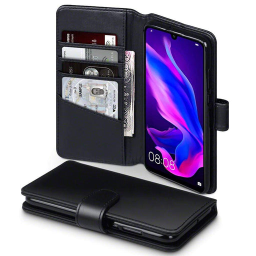Terrapin Cases Terrapin Huawei P30 Lite Real Leather Wallet Case - Black