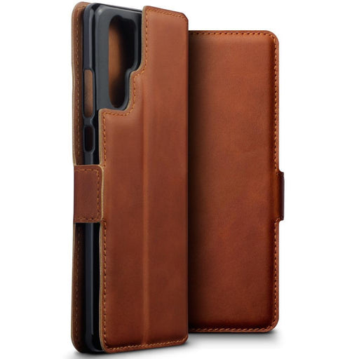 Terrapin Cases Terrapin Huawei P30 Pro Low Profile Genuine Leather Wallet Case - Cognac