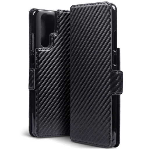 Terrapin Cases Terrapin Huawei P30 Pro Low Profile PU Leather Wallet Case - Black Carbon Texture