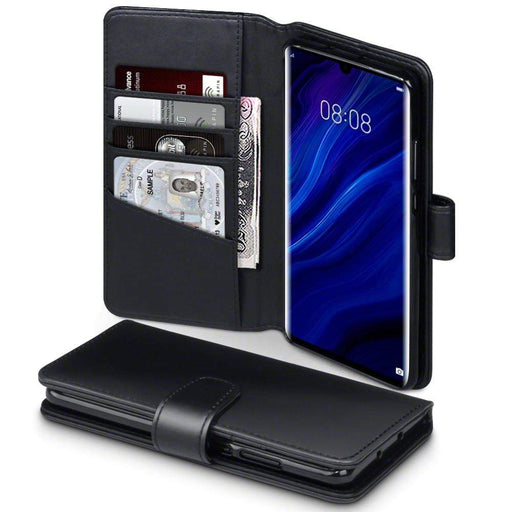 Terrapin Cases Terrapin Huawei P30 Pro Real Leather Wallet Case - Black