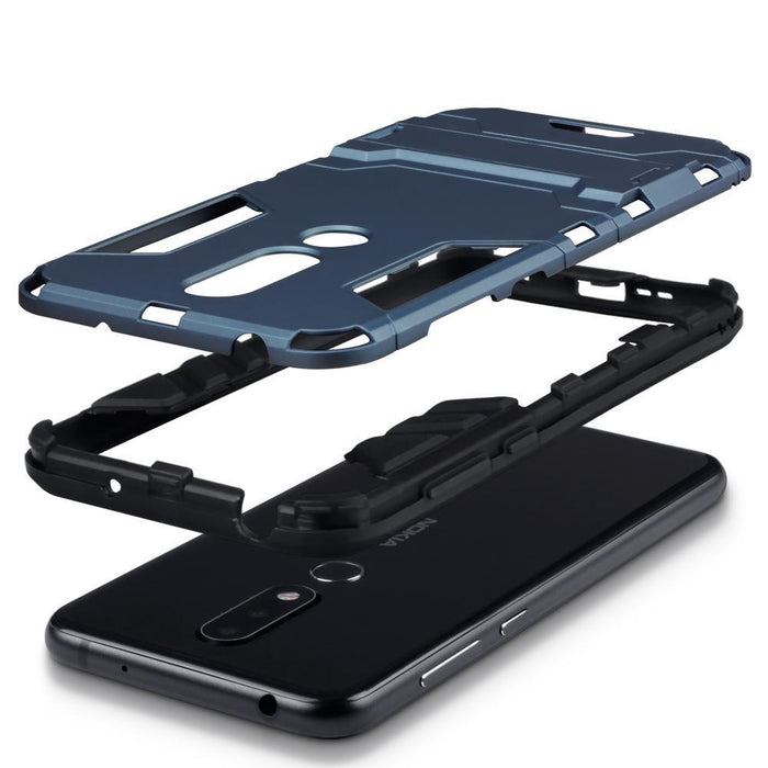 Terrapin Cases Terrapin Nokia 6.1 PLUS/X6 Dual Layer Impact Armour Stand Case - Blue