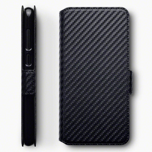 Terrapin Cases Terrapin Nokia 6.1 PLUS/X6 Low Profile Faux Leather Wallet Case - Black Carbon Fibre Texture