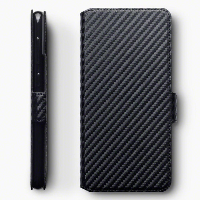 Terrapin Cases Terrapin Samsung Galaxy A30 Low Profile PU Leather Wallet Case - Black Carbon Texture