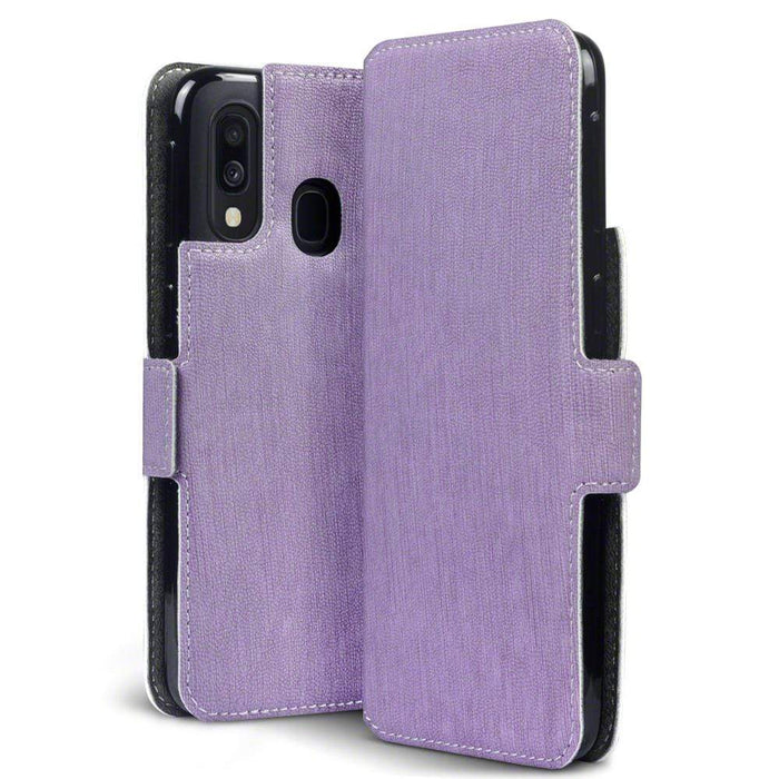 Terrapin Cases Terrapin Samsung Galaxy A40 Low Profile PU Leather Wallet Case - Purple