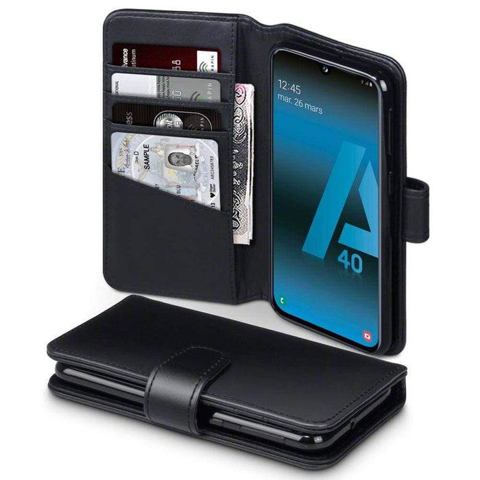Terrapin Cases Terrapin Samsung Galaxy A40 Real Leather Wallet Case - Black