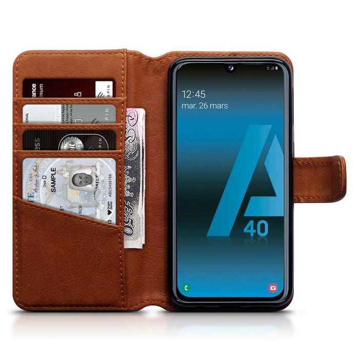 Terrapin Cases Terrapin Samsung Galaxy A40 Real Leather Wallet Case - Cognac