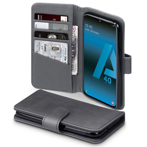 Terrapin Cases Terrapin Samsung Galaxy A40 Real Leather Wallet Case - Grey