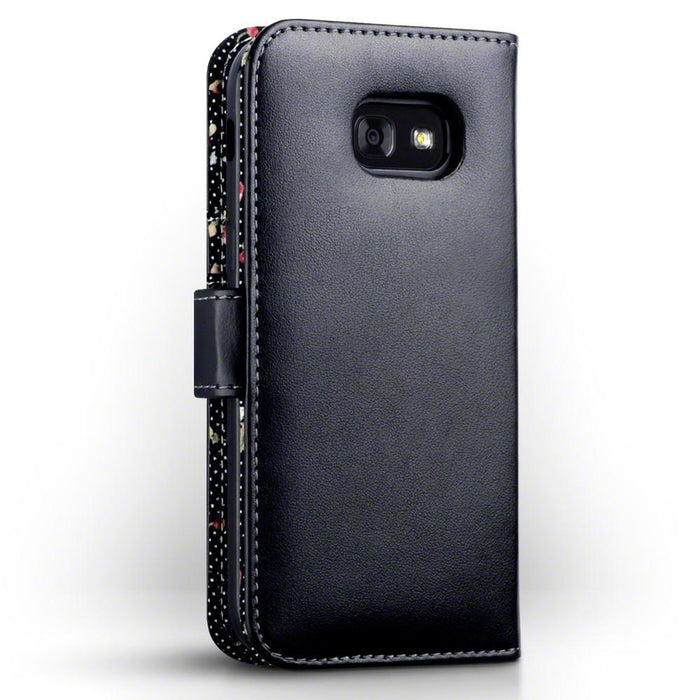 Terrapin Cases Terrapin Samsung Galaxy A5 2017  Premium Faux Leather Wallet Case - Black Floral
