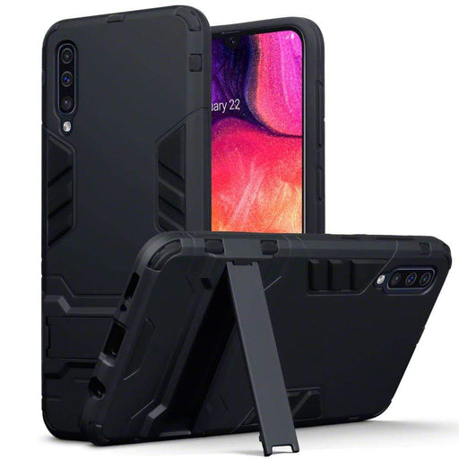 Terrapin Cases Terrapin Samsung Galaxy A50 Dual Layer Shock Resistant Armour Case with Stand - Black