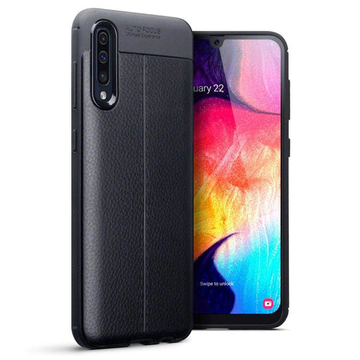 Terrapin Cases Terrapin Samsung Galaxy A50 Leather Texture Design TPU Gel Case - Black