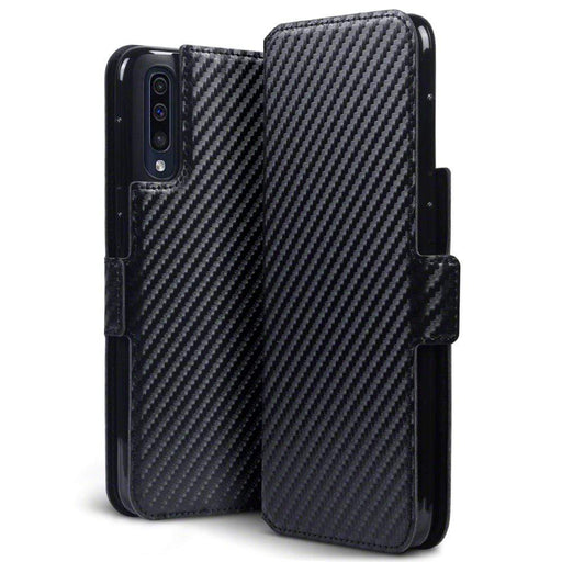 Terrapin Cases Terrapin Samsung Galaxy A50 Low Profile PU Leather Wallet Case - Black Carbon Texture