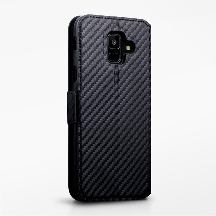 Terrapin Cases Terrapin Samsung Galaxy A6 2018 Low Profile Faux Leather Wallet Case - Black Carbon Texture