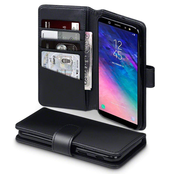 Terrapin Cases Terrapin Samsung Galaxy A6 2018 Real Leather Wallet Case - Black