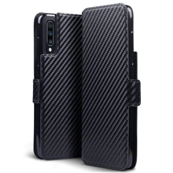 Terrapin Cases Terrapin Samsung Galaxy A70 Low Profile PU Leather Wallet Case - Black Carbon Texture