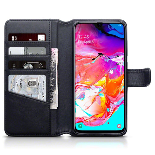 Terrapin Cases Terrapin Samsung Galaxy A70 Real Leather Wallet Case - Black