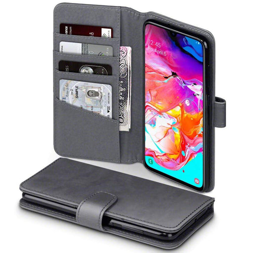 Terrapin Cases Terrapin Samsung Galaxy A70 Real Leather Wallet Case - Grey