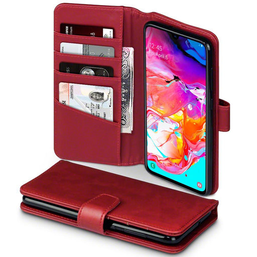 Terrapin Cases Terrapin Samsung Galaxy A70 Real Leather Wallet Case - Red