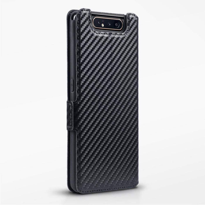 Terrapin Cases Terrapin Samsung Galaxy A80 Low Profile PU Leather Wallet Case - Black Carbon Texture