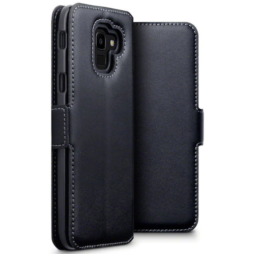 Terrapin Cases Terrapin Samsung Galaxy J6 2018 Low Profile Genuine Leather Wallet Case - Black