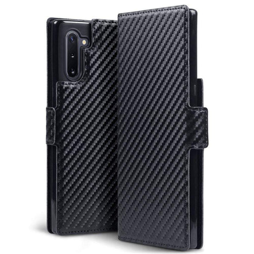 Terrapin Cases Terrapin Samsung Galaxy Note 10 Low Profile PU Leather Wallet Case - Black Carbon Fibre Texture