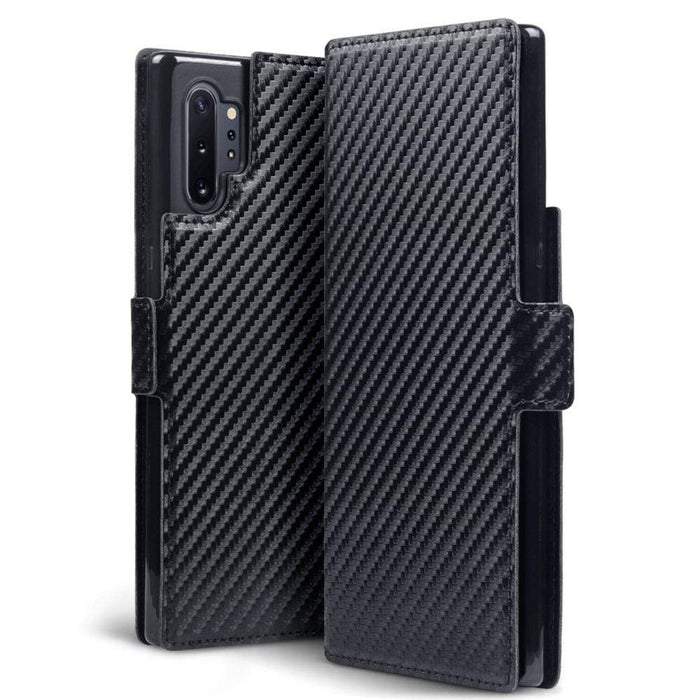 Terrapin Cases Terrapin Samsung Galaxy Note 10 Pro Low Profile PU Leather Wallet Case - Black Carbon Fibre Texture