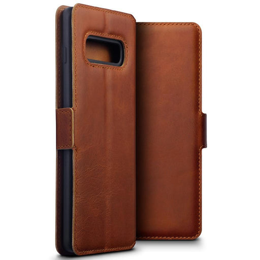 Terrapin Cases Terrapin Samsung Galaxy S10 Plus Low Profile Genuine Leather Wallet Case - Cognac