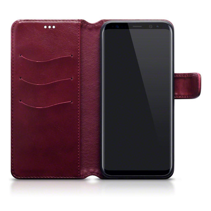 Terrapin Cases Terrapin Samsung Galaxy S8 Plus Faux Leather Wallet Case with Stand Function - Red White Stitching