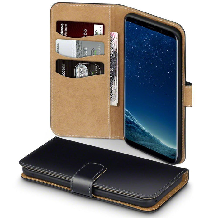 Terrapin Cases Terrapin Samsung Galaxy S9 Premium Faux Leather Wallet Case - Black/Tan