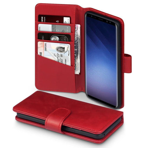 Terrapin Cases Terrapin Samsung Galaxy S9 Real Leather Wallet Case - Red