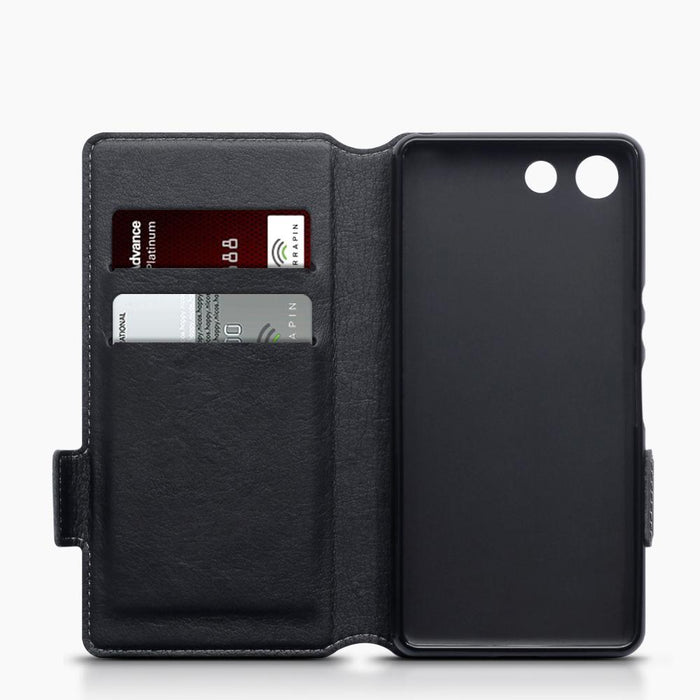 Terrapin Cases Terrapin Slim Genuine Black Leather Wallet Case for Sony Xperia XZ4 Compact