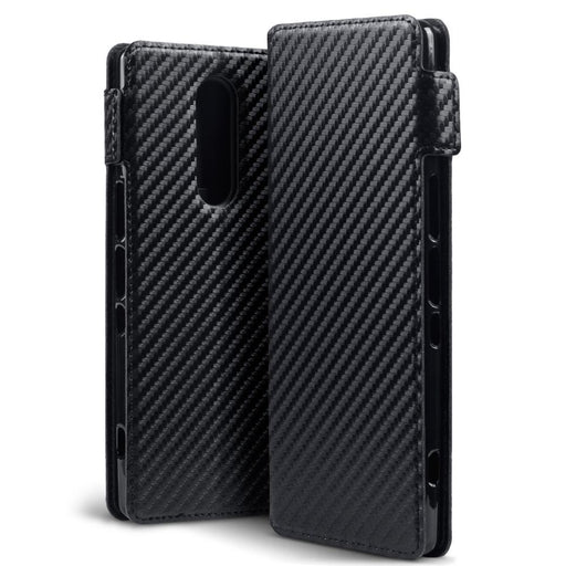 Terrapin Cases Terrapin Sony Xperia 1 Slim PU Leather Wallet Case - Black Carbon Texture