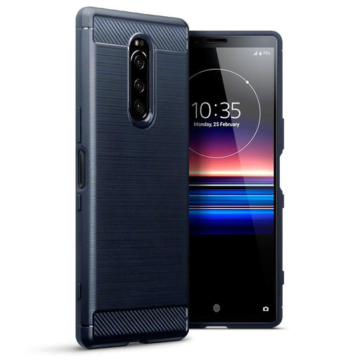 Terrapin Cases Terrapin Sony Xperia 1 Ultra Carbon Fibre Design TPU Gel Case - Blue