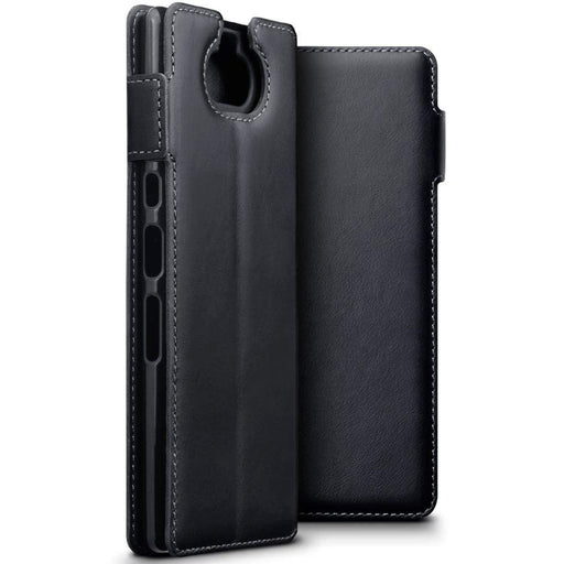 Terrapin Cases Terrapin Sony Xperia 10 Plus Low Profile Genuine Leather  Wallet Case - Black