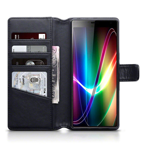 Terrapin Cases Terrapin Sony Xperia 10 Plus Real Leather Wallet Case - Black